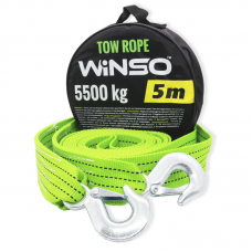 Трос стрічковий Winso з металевими гачками, максимальне навантаження 5.5т, довжина 5м, 135550